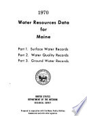 Water Resources Data for Maine Book
