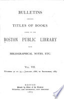 Bulletin Of The Public Library Of The City Of Boston Book PDF