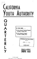 California Youth Authority Quarterly Book