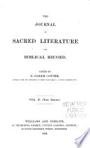The Journal Of Sacred Literature And Biblical Record
