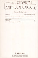 American Journal Of Physical Anthropology The Official Publication Of The American Association Of Physical Anthropologists