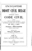 Encyclopedie du droit civil belge