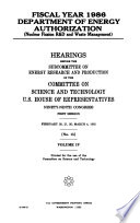 Fiscal Year 1986 Department of Energy Authorization (nuclear Fission R&D and Waste Management)