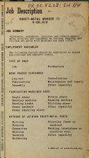 Job Description for Sheet metal Worker II