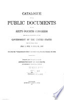 Catalogue Of The Public Documents Of The Congress And Of All Departments Of The Government Of The United States