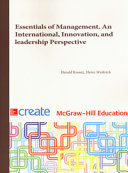Essentials of Management. An International Perspective