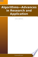 Algorithms   Advances in Research and Application  2012 Edition