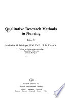 Qualitative Research Methods in Nursing