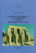 Egyptian Historical Inscriptions of the Nineteenth Dynasty