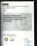 Air Quality Impacts of Liquefied Natural Gas in the South Coast Air Basin of California