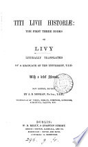 Titi Livii Histori    the first three books of Livy  tr  by a graduate of the university  T C D
