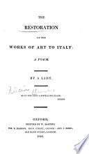 The Restoration of the Works of Art to Italy