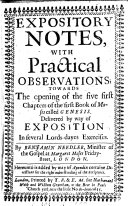 Pdf Expository notes, with practical observations, towards the opening of the five first chapters of the first Book of Moses