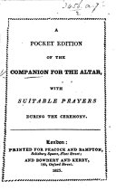 Companion for the Altar  A Pocket Edition of the Companion for the Altar  with suitable prayers during the ceremony