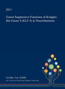 Tumor Suppressive Functions of Krüppel-Like Factor 4 (Klf 4) in Neuroblastoma