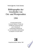 Bibliographie der Geschichte von Ost-und Westpreussen