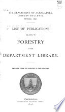 List of Publications Relating to Forestry in the Department Library