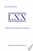 Notes on the Greek Text of Leviticus Book