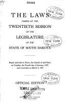 Laws Passed at the 1st  Session of the Legislature of the State of South Dakota Book