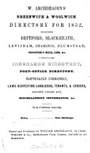 W  Archdeacon s Greenwich   Woolwich directory for 1852