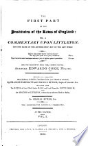 The First Part Of The Institutes Of The Laws Of England