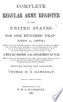 Complete Army Register Of The United States For One Hundred Years 1779 1879