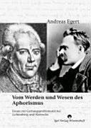 Vom Wesen und Werden des deutschen Aphorismus