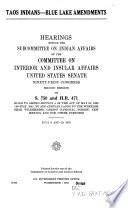 Taos Indians--Blue Lake Amendments