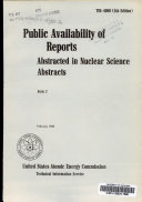 Public Availability of Reports Abstracted in Nuclear Science Abstracts