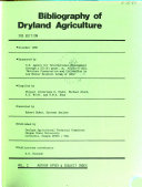 Bibliography of Dryland Agriculture  Author index   subject index