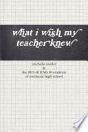 What I Wish My Teacher Knew Book