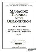 Managing Training in the Organization  The nuts n bolts of personal  people and resource management