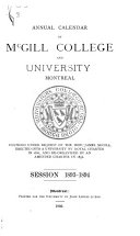 Annual Calendar of McGill College and University