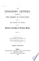 The Ingoldsby Letters, in Reply to the Bishops in Convocation and in the House of Lords