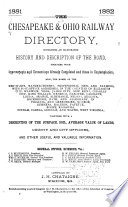 The Chesapeake   Ohio Railway Directory  Containing an Illustrated History and Description of the Road