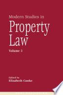 Modern Studies in Property Law -