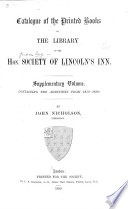 Catalogue of the Printed Books in the Library of the Hon  Society of Lincoln s Inn