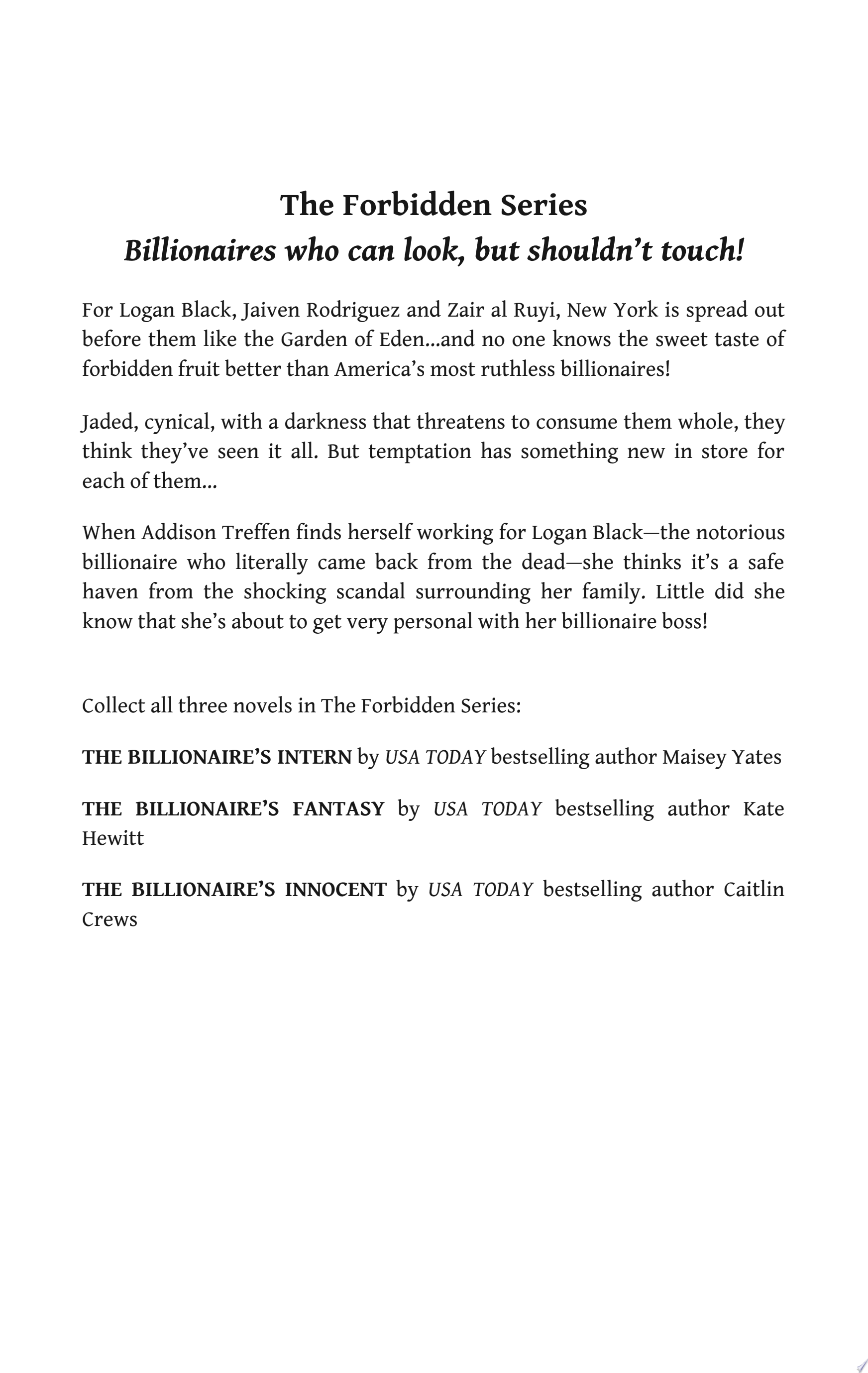 The Billionaire s Intern  Mills   Boon M B   The Forbidden Series  Book 1