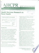 Health services research on rural health
