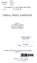 Documents On The Foreign Relations Of Pakistan China India Pakistan Book PDF