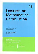 Lectures on Mathematical Combustion