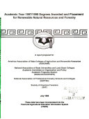 Academic Year 1997 1998 Degrees Awarded and Placement for Renewable Natural Resources and Forestry Book