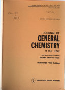 Journal of General Chemistry of the Union of Soviet Socialist Republics