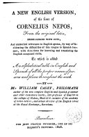 A New English Version of the Lives of Cornelius Nepos, from the Original Latin ...