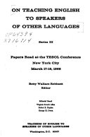 On Teaching English to Speakers of Other Languages Book PDF