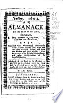 An Almanack For The Year Of Our Lord 1688 89 1691 92