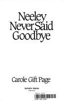 Neeley Never Said Good By Book PDF