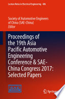Proceedings Of The 19th Asia Pacific Automotive Engineering Conference Sae China Congress 2017 Selected Papers