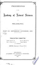 Proceedings Of The Academy Of Natural Sciences Part Iii Sept Dec 1887