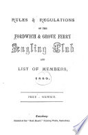 Rules   Regulations of the Fordwich   Grove Ferry Angling Club and List of Members  1889 Book